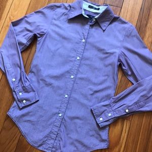 Purple and white striped button down shirt size 0